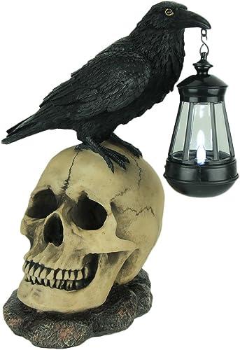 Light of The Dead Raven On Skull Solar LED Outdoor Statue