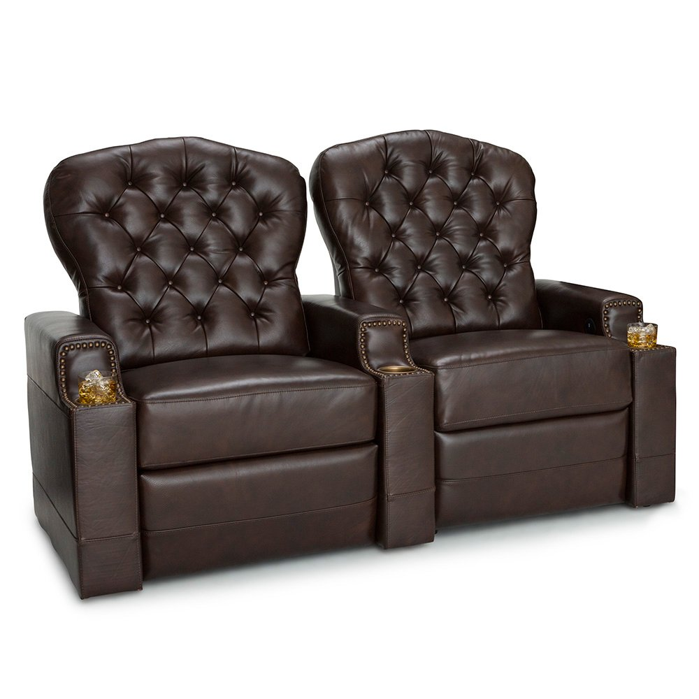 Seatcraft Imperial Leather Home Theater Seating Power Recline - (Row of 2, Brown)