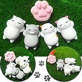 Mochi Animals Stress Toys, Outee 5 Pcs Mochi Squishy Toy Mini Cat Squishy Mochi Squishy Cat Mochi Squeeze Toys Soft Squishy Stress Relief Animal Toys