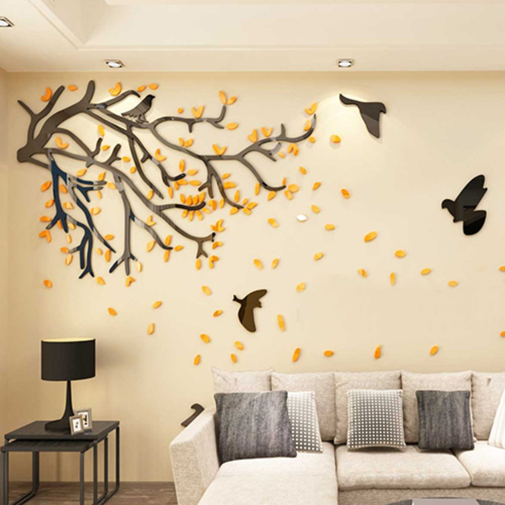 Amazon.com: 3d tree wall stickers,Removable acrylic mirror wall ...