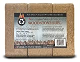Kiln Dried Recycled Wood Fiber Fuel Blocks, 20 lb Wood Stove Fuel/ Bio Mass Bricks (6 Blocks) - One (1) lb produces approx. 8,500 BTUs of heat that is hotter and last longer than cordwood