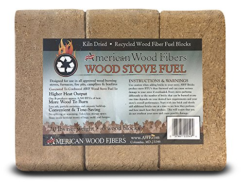 (Kiln Dried Recycled Wood Fiber Fuel Blocks, 20 lb Wood Stove Fuel/ Bio Mass Bricks (6 Blocks) - One (1) lb produces approx. 8,500 BTUs of heat that is hotter and last longer than cordwood)