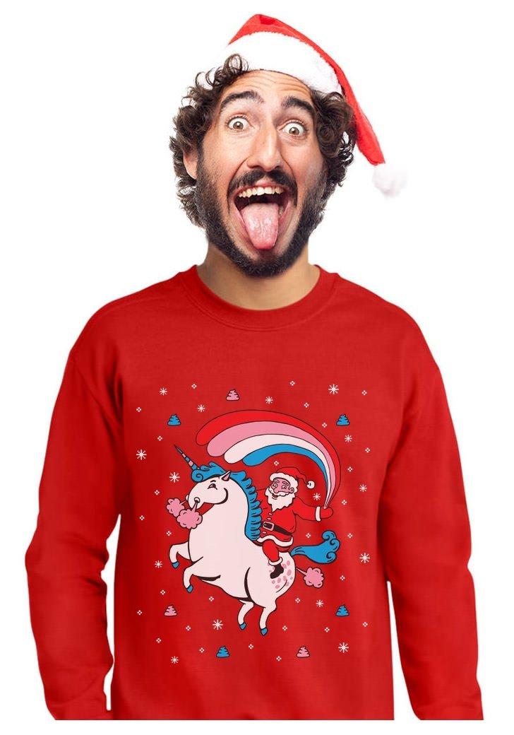 TeeStars - Santa Riding Unicorn Rainbow Ugly Christmas Sweater Sweatshirt 3