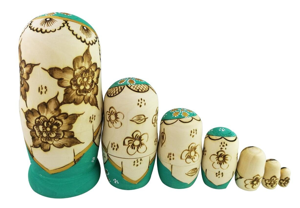 Winterworm Cute Little Girl With Big Braid Handmade Matryoshka Wishing Dolls Mother's Day Gifts Russian Nesting Dolls Set 7 Pieces Wooden Kids Gifts Toy Home Decoration Green by Winterworm (Image #4)