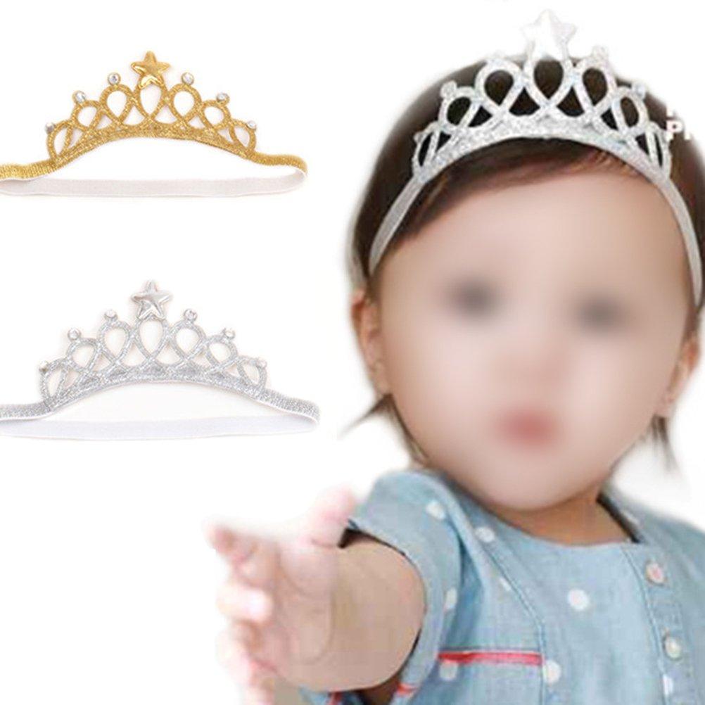 Silber Lurrose Baby M/ädchen Krone Tiara Stirnband Kopf Wickeln Haarband Kopfbedeckung Geburtstagsgeschenk Prinzessin Tiara Krone Stirnband