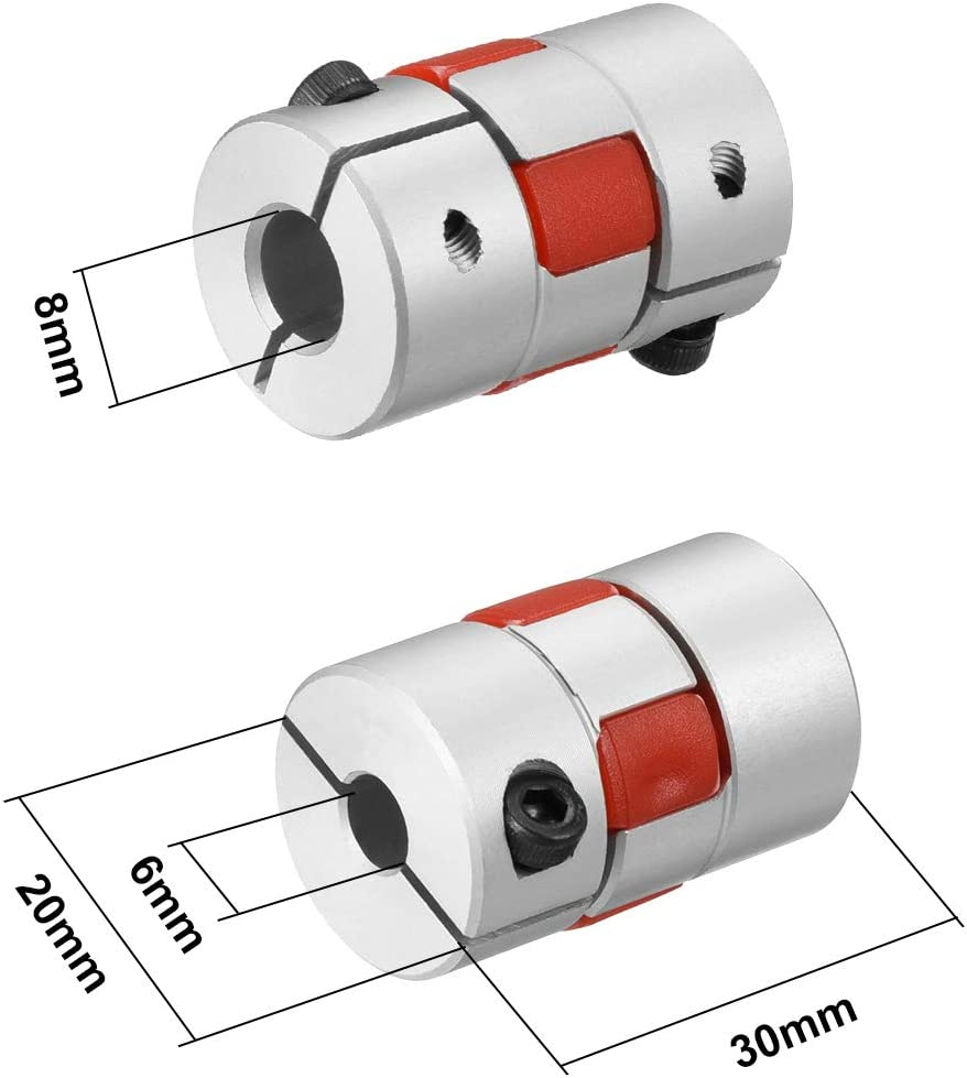 uxcell 2pcs Shaft Coupling 8mm to 8mm Bore L35xD25 Flexible Coupler Joint for Servo Stepped Motor