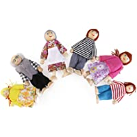 Toyvian 6Pcs Wooden Doll House Family Pretend Play Toy Playset Wooden Figures Set for Children Dollhouse Pretend Gift