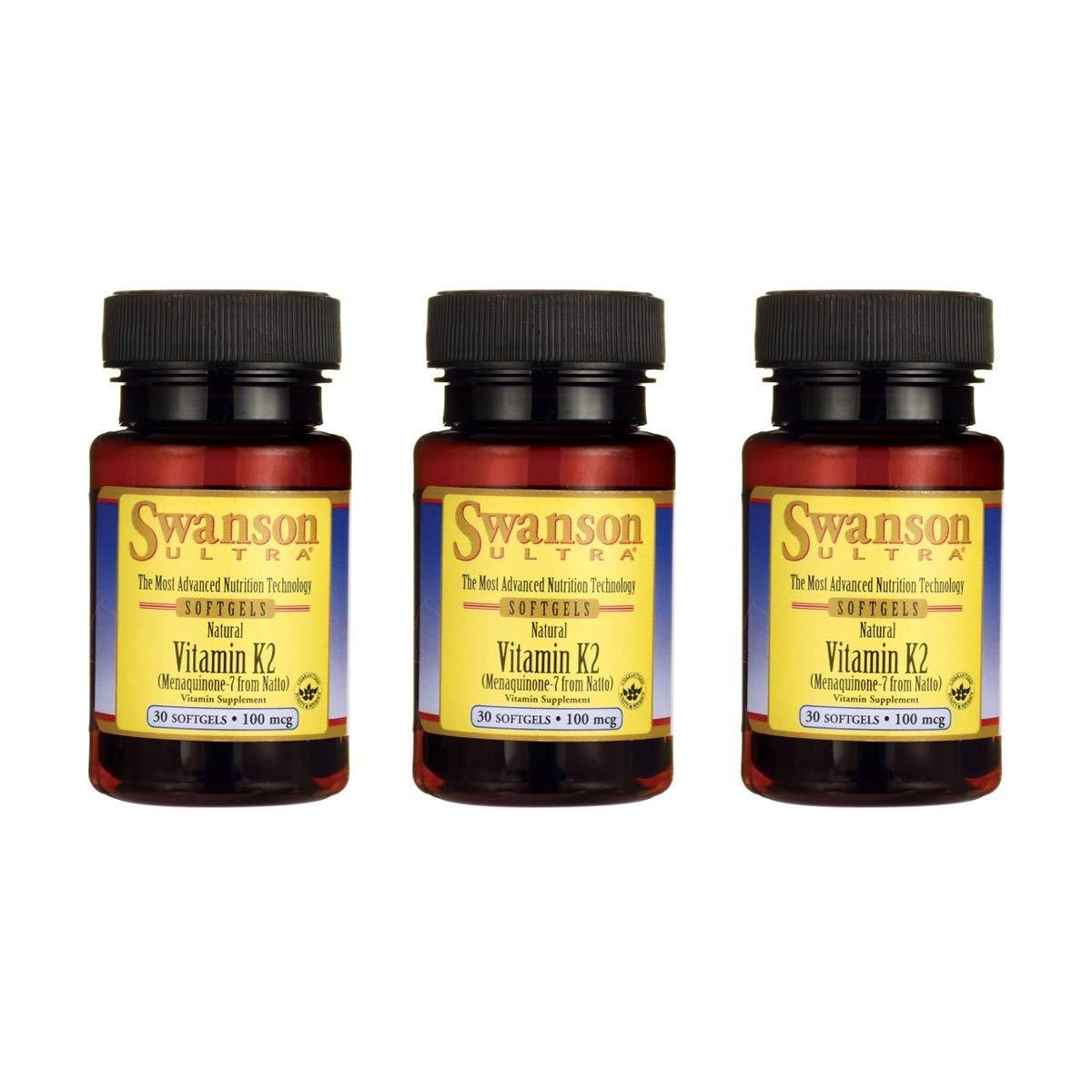Swanson Vitamin K-2 - Natural 100 mcg 30 Sgels 3 Pack