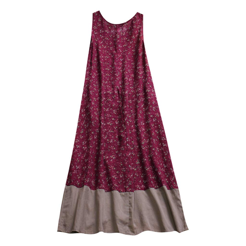 Sommerkleid Leinen Kleider Damen V-Ausschnitt Strandkleider Einfarbig A-Linie Kleid Boho Knielang Kleid Ohne Zubeh/ör