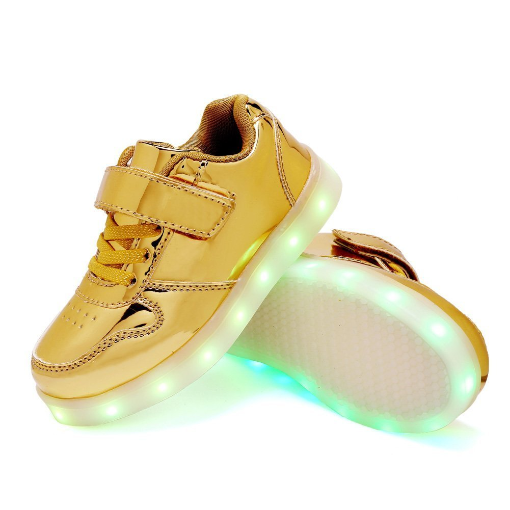 LED Light up Lace Up Luminous Sneakers Kids Casual Shoes for Boys Girls Christmas Halloween Gift(Gold 5 M US Big Kid)