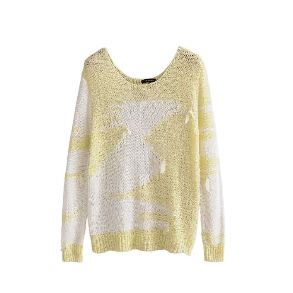 FUHENGMY Pullover OverGröße   Herbst Frauen   Oansatz Patchwork Farbe Vintage Hohl Pullover   Lose Langärmelige Tops Frauen Gestrickte Pullover   Pullover