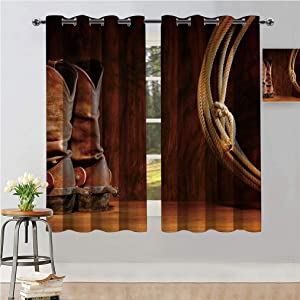 """Western Decor Grommet Window Curtains, American Style Cowboy Wild West Culture Equestrian Sports Team Roping Barn Room Darkening Drapes for Home Decor, Each Panel 31.5""""W x 72""""L Umber Brown"""