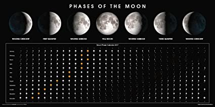 Amazon Com Phases Of The Moon Calendar 2017 Educational Classroom