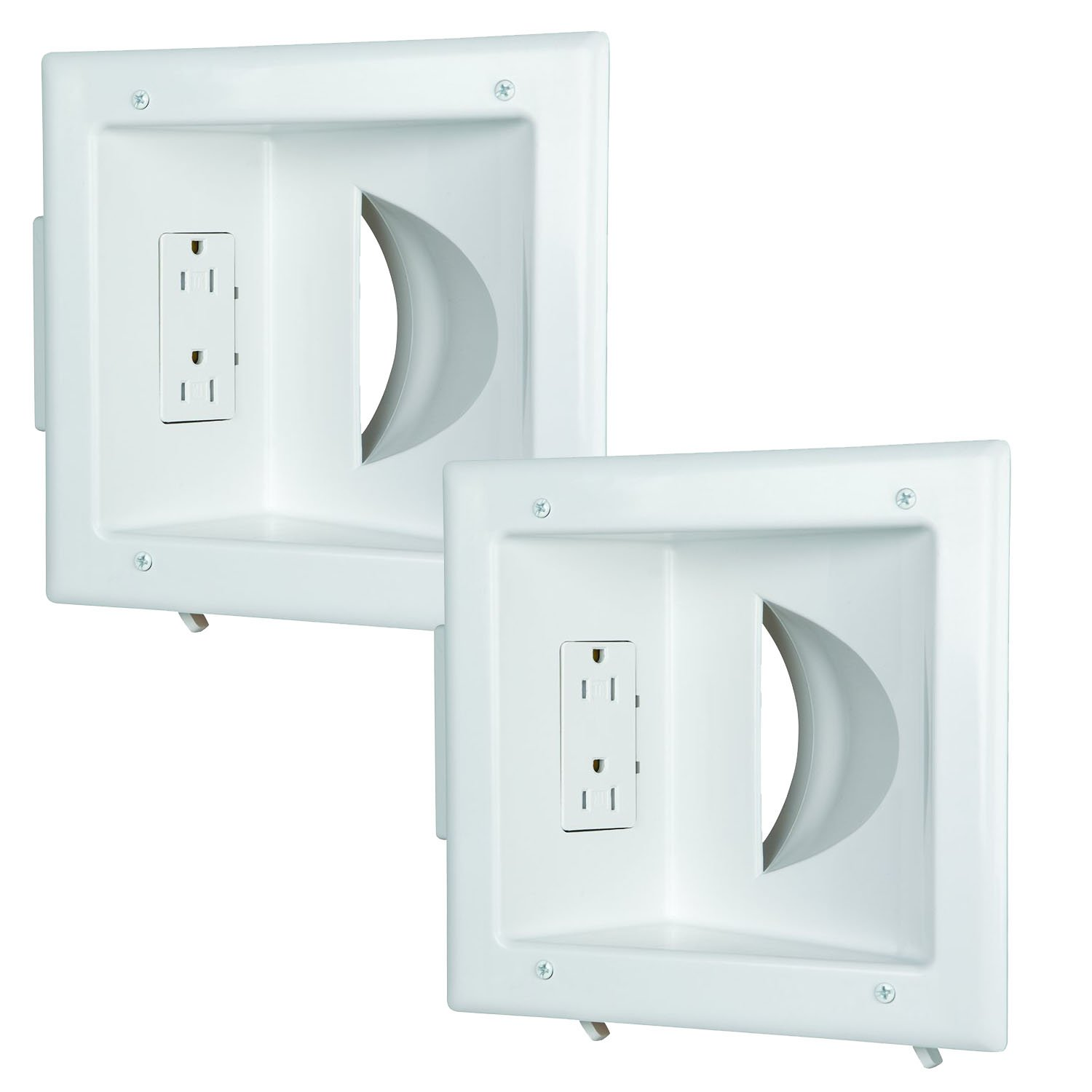 DataComm 45-0031-WH-2PK (2 PACK) Recessed Low-Voltage Media Plate with Duplex Receptacle - White