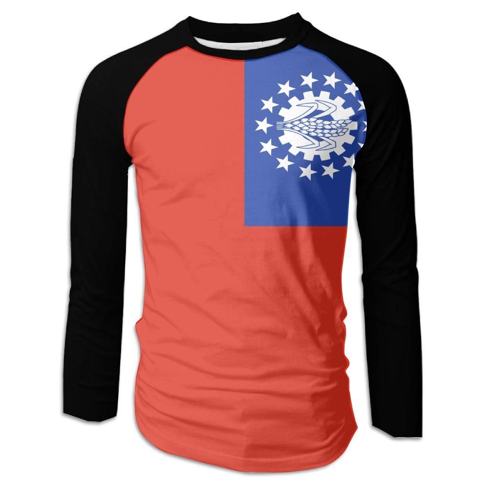 MASDUIH 3D Print Flag Of Myanmar 1974-2010 Mens Long Sleeve Shirt Vintage T Shirts Baseball Shirt