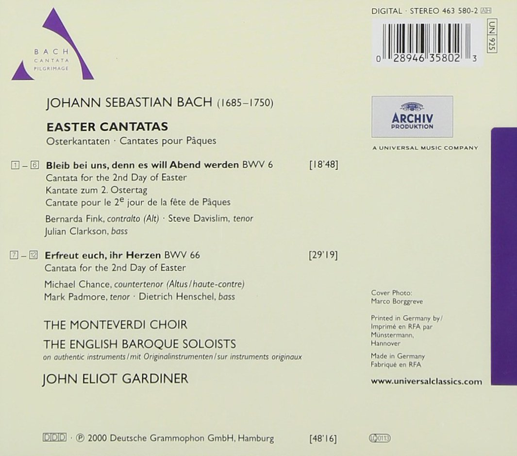 Bach - Easter Cantatas BWV 6 & 66 / Fink, Davislim, Clarkson, Chance, Padmore, Henschel, The Monteverdi Choir, The English Baroque Soloists, Gardiner by Archiv Prod Import