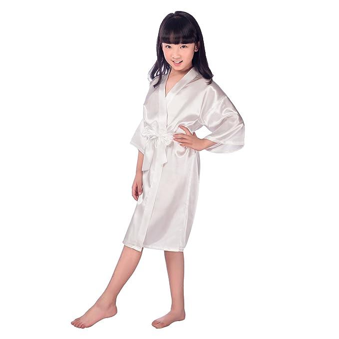 4974d5f0bb85 JZLPIN Bambini Unisex Ragazze Raso Seta Kimono Robe Vestaglia Biancheria da  Notte Indumenti da Notte Loungewear per Spa Nozze Festa Vestito: Amazon.it:  ...