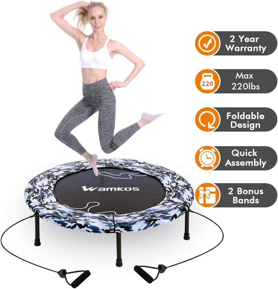 """2020 Upgraded Wamkos 40"""" Rebounder Mini Exercise Trampoline for Adults Kids,Indoor Foldable Fitness Trampoline Trainer with Resistance Bands for Sports & Outdoor,Yoga and Other Jumping Cardio Exercise"""