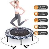 "2020 Upgraded Wamkos 40"" Rebounder Mini Exercise Trampoline for Adults Kids,Indoor Foldable Fitness Trampoline Trainer with Resistance Bands for Sports & Outdoor,Yoga and Other Jumping Cardio Exercise"