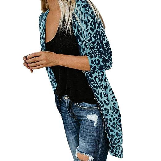 7a91fd36de9c KFSO Women's Leopard Print Long Sleeve Open Front Button Cardigan Longline  Duster Coat (Blue,