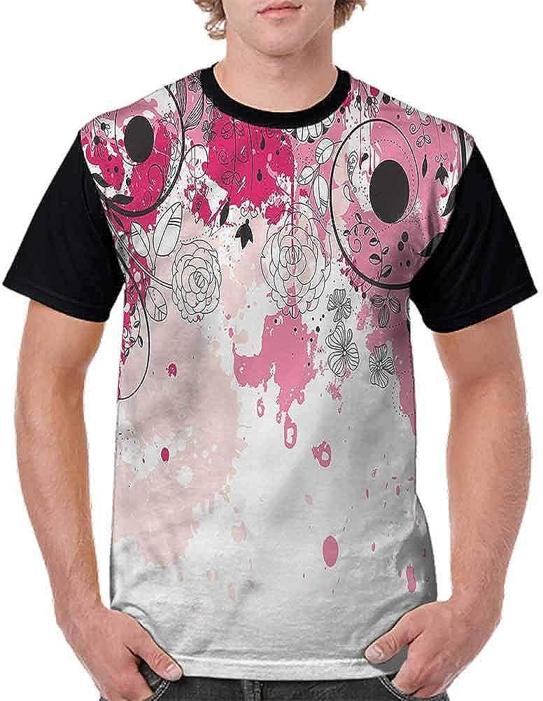 BlountDecor Casual Short Sleeve Graphic Tee Shirts,Paintbrush Flower Petals Fashion Personality Customization