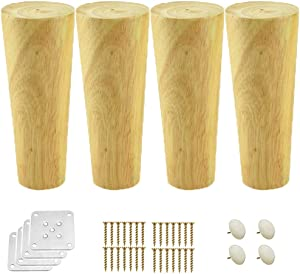 APAN 4 Round Solid Wood Furniture Leg,Cone Replacement Sofa Feet,Cabinet Replacement Feet,for Couch Chair Loveseat Ottoman Coffee Table Bed TV Dresser,Varnish,with Mounting Plates,6-70cm(30cm)