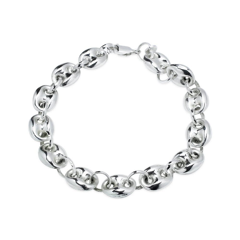 Sterling Silver High Polished Puffed Anchor Mariner Chain Bracelet, 7 Inches
