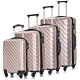 4PC 18-28 Inch Hardshell Luggage ABS Luggages Sets With Spinner Wheels Hard Shell Spinner Carry On Suitcase (Champagne Gold,
