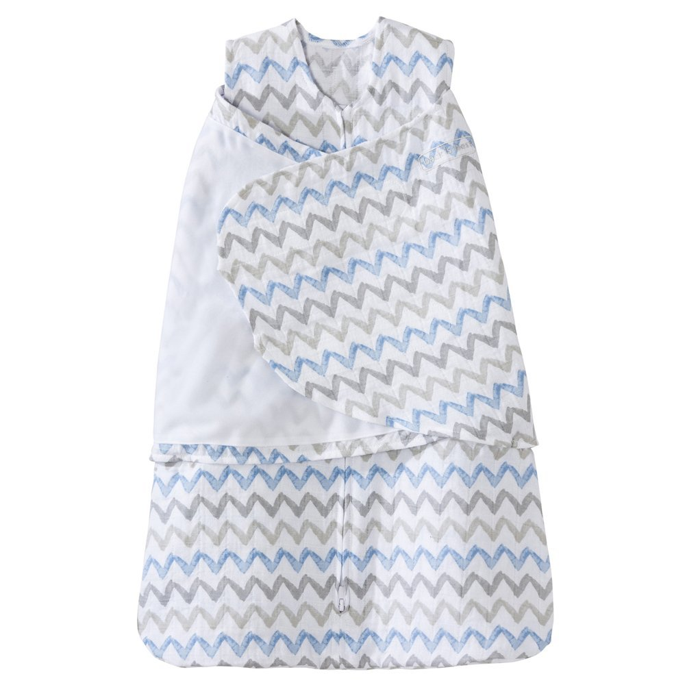 Halo 100% Cotton Muslin Sleep Sack Swaddle, Chevron Taupe, Small