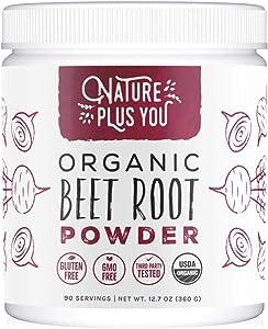Organic Beet Root Powder: Nitric Oxide Booster, Circulation and Stamina Increasing, USDA Organic, Vegan Beetroot Superfood Powder, Plant Based Ingredient, 90 Servings, by Nature Plus You