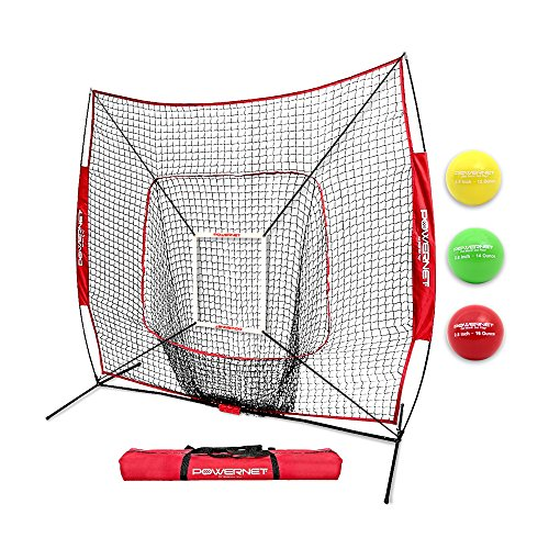 - PowerNet DLX 2.0 System (Red) | 7x7 Baseball Hitting Net + Weighted Training Ball 3 Pack + Strike Zone | Swing Harder | Throw Faster | Build Pitch & Hit Specific Muscle Groups Pitching Accuracy