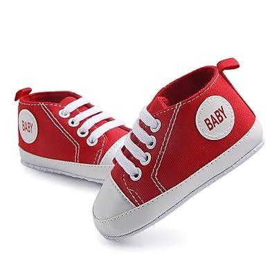 Antheron Infant Canvas Shoes - Baby Boys Girls Anti-Slip First Walker Toddler Sneaker Newborn Crib Shoes