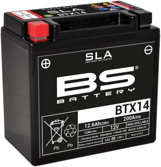 Nero Batteria moto SLA BS Battery 300681 BTX14 AGM
