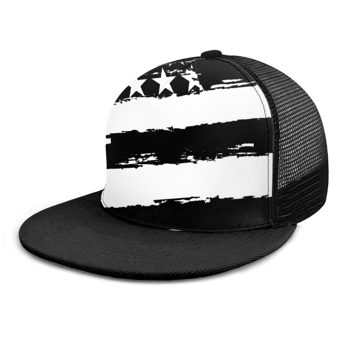 Ry71@Cap Boys and Girls 100/% Polyester Black and White American Flag Mesh Hat Low Profile Snapback Hat for Unisex