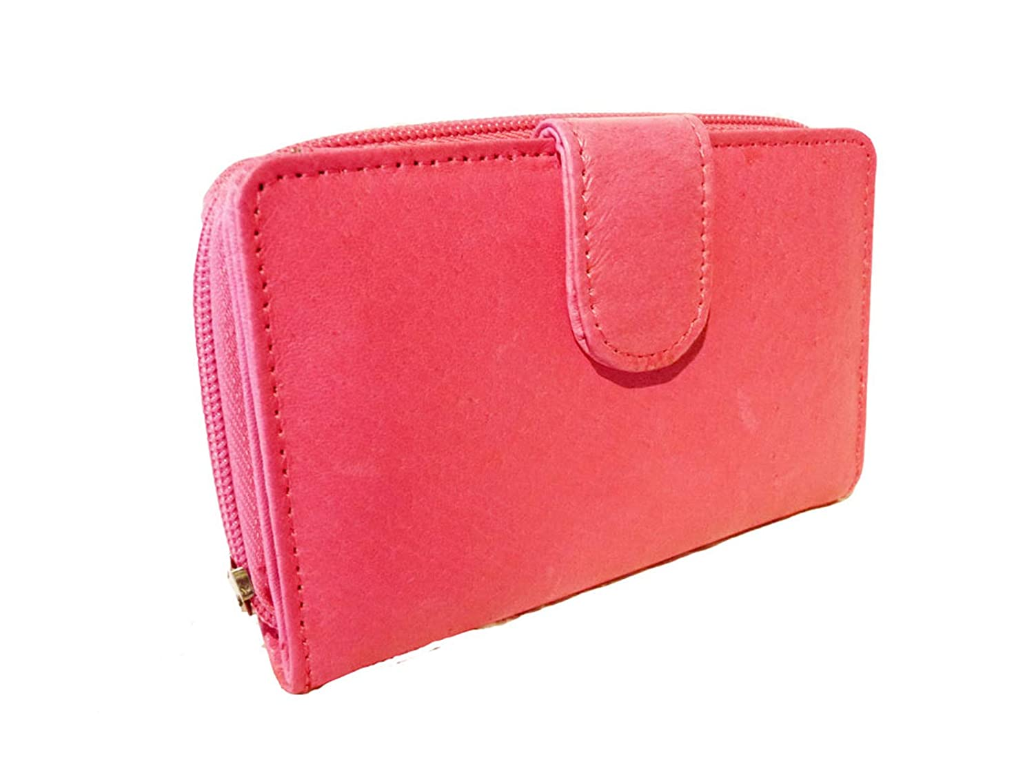 6 Credit Card Spaces Pink Ladies Small Pink Leather Purse Soft Real Leather Ladies Coin Purses Measurements 12 x 2.5 x 9 cm Size Quenchy London 033P 3 Purse Sections