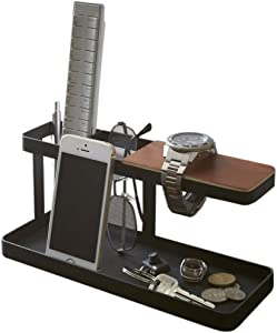 Metal Desktop Side Table Organizer with Wooden Wristwatch Bar, Remote Control Stand and a Catch-All Tray for Change and Keys, Black