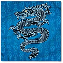 Japanese Dragon Bandana by Ambesonne, Black Dragon on Blue Tribal Background Year of the Dragon Themed Art, Printed Unisex Bandana Head and Neck Tie Scarf Headband, 22 X 22 Inches, Blue Black White