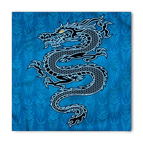 Background Necktie Black (Japanese Dragon Bandana by Ambesonne, Black Dragon on Blue Tribal Background Year of the Dragon Themed Art, Printed Unisex Bandana Head and Neck Tie Scarf Headband, 22 X 22 Inches, Blue Black White)