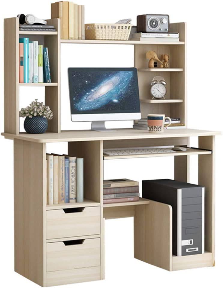 Home Office Desk, Multi-Layer Simple Desktop Computer Desk Laptop Study Table with 2 Drawers Pullout Keyboard Tray Storage Shelf (1 Piece, Beige)