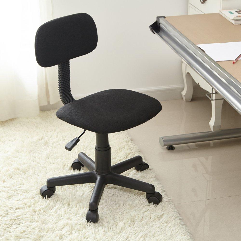 con rotelle per lavorare al computer in casa e in ufficio Sedia da scrivania ideale per lo studio dei bambini Nero Black regolabile con schienale intermedio FurnitureR