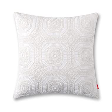 baibu Embroidered Cushion Cover Unique Pattern Designs Throw Pillow Cover Ivory White