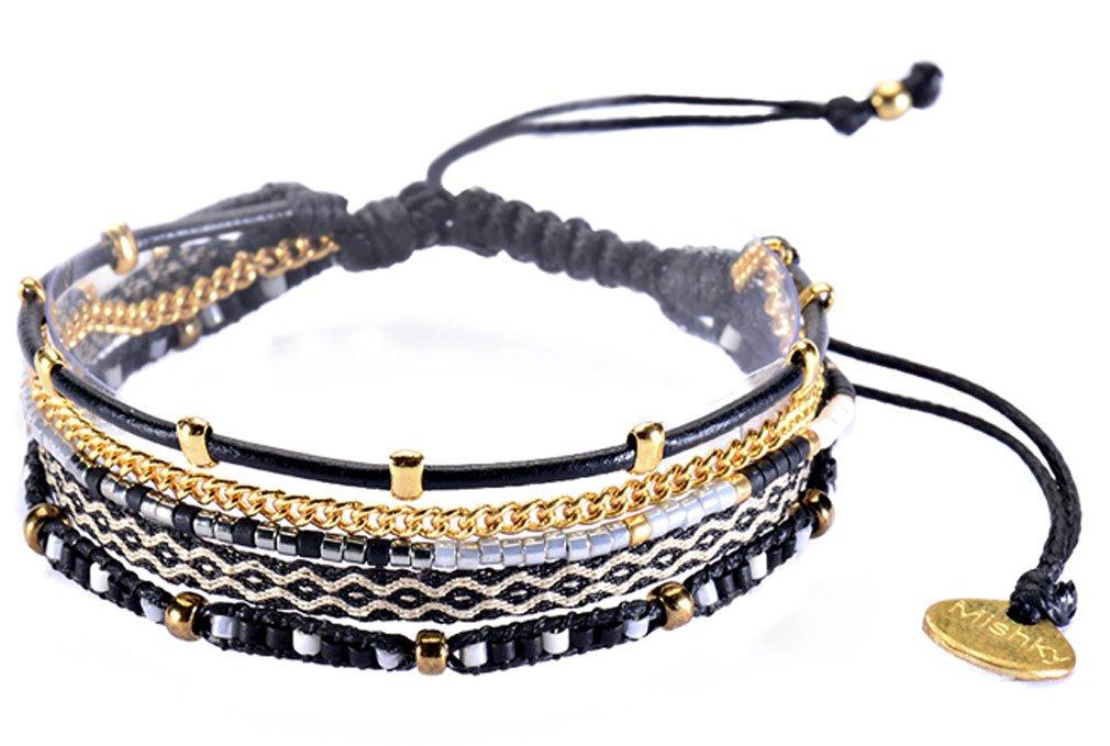 Mishky Beaded Multi Strand Cuff Style Bracelet with Adjustable Macrame Clasp, Black Gold-tone
