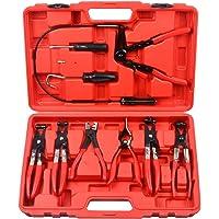 9pcs Wire Long Reach Hose Clamp Pliers Set - Universal Automotive Fuel Oil Water Hose Remover Tool Kit PT1002