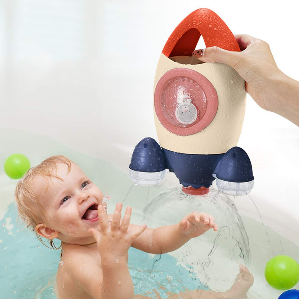 Baby Kinder Kinder Rakete Badespielzeug Rotierendes Baby waschen P0X3 P5W6