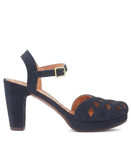 Chie Mihara Sandale avec talon  Gaime en suède bleu foncé Bleu - Chaussures Sandale Femme