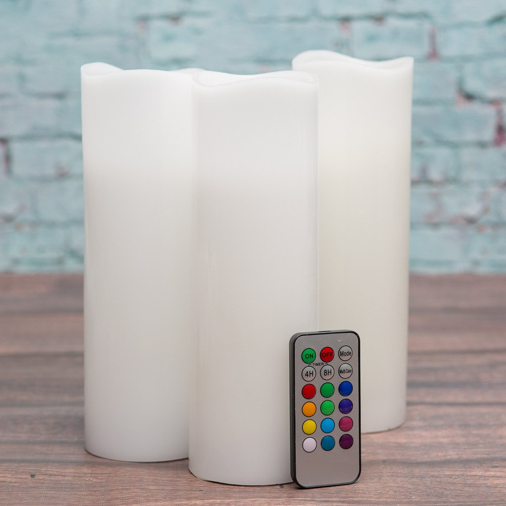 Richland Wavy Top Flameless LED Pillar Candles White 3'' x 9'' with Remote Control Set of 24