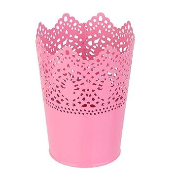 1pcs Metall Schneiden Pflanze Vase Topf Stift Make-up B/ürstenhalter Schreibtisch Ordentlich Organizer Veranstalter Aufbewahrungskorb