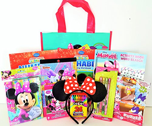 Minnie Mouse 11 Piece Gift Set with Minnie Mouse Journal, Jumbo Playing Cards, Learning Workbooks, Minnie Mouse Ears & MORE!