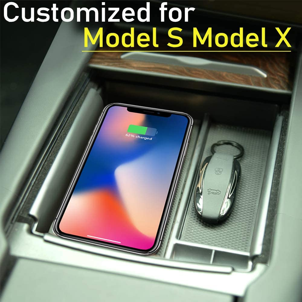 EVFIT Model S X Wireless Charger Phone Charging Center Console Storage Box Compatible Tesla All Qi-Enabled Phones