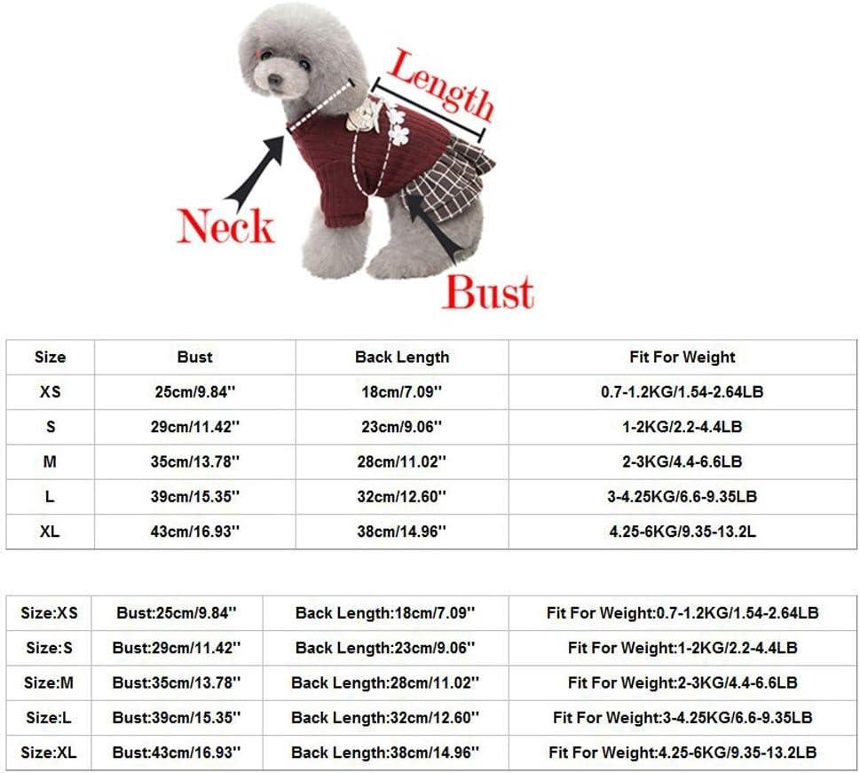 Coversolate Hundekleidung /Ärmellose Gef/ütterte Faltenrock Winter Warme Hundekleid f/ür Kleine Hunde Prinzessin Kleid Partykleid